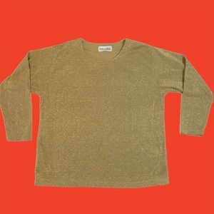 Sparkly Gold Vintage Sweater Holiday Christmas Top